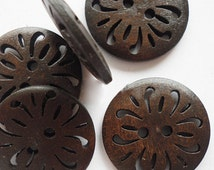 """Buttons (B12) Five 1"""" Carved Buttons Dark Brown Wood for Sewing Knitting Crochet"""
