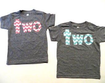 two 2nd Birthday Shirt for Boy or Girl two Chevron Number Birthday T Shirt  triblend grey Birthday Shirt