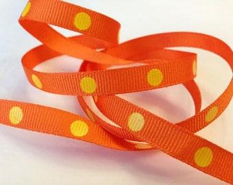 Grosgrain RIBBON - 3/8 Inch x 5 Yards - Dippy Dots - Yellow on Orange