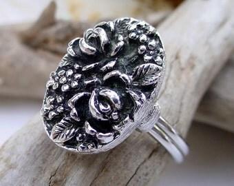 Vintage Emmons Rose Floral Adjustable Ring - Antiqued Silver Tone