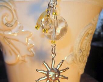 Rearview Mirror Jewelry Charm Car Feng Shui Sun Yellow