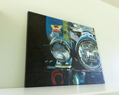 Motorcycle Painting Realistic Artwork Gift For Him Motorcycle Headlamps Acrylic Painting Motor Art Men Artwork Wall Art Man Cave Decor