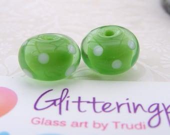 Lampwork Beads Floating Green Polka Dot Pair UK