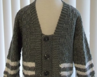 Hand Knit Toddler Grey and White Sweater Cardigan Handmade