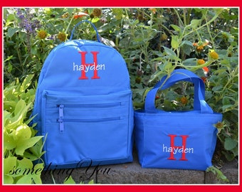 Gift Set - Boys Initial and Name Monogrammed Backpack and Lunch Box - Personalized Solid Color School Kids Back Pack Book Bag kids childrens