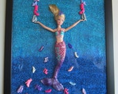SALE - A Mermaid's Fantasy - upcycled framed assemblage