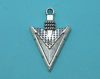 50 Arrowhead Charms silver tone metal arrow BULK (EB-S123)