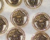 Medusa Set 12 BOTH Antiqued Brass & GoLd Versace Style new Buttons PIERCED 7/8""