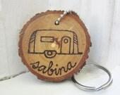 Personalized vintage travel trailer camper wood branch tree slice keychain key chain. Shasta Canned Ham, Airstream, teardrop