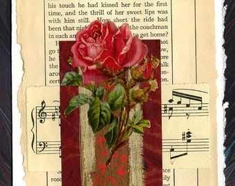 Roses and Song Original Collage Card