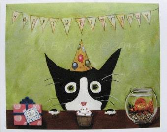 Cat Birthday Card - Funny Tuxedo Cat Birthday Card - Silent Mylo Tuxedo cat - Cat Art