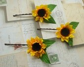 Three Sunflower Bloom Bobby Pins