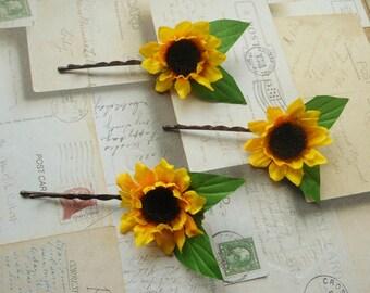 Three Sunflower Bloom Bobby Pins