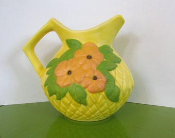RARE Vintage Enchanto California  Pottery Co - 1950s - Bright Yellow Matte Glaze Pitcher - floral design, green, water pitcher, home decor
