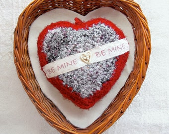 Be Mine Valentine Message - Silk Tapestry Plush Ornament - Heartfelt Engagement Proposal Gift - Red and White with Rose Button Embellishment