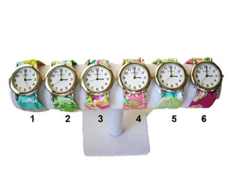 Silver Wristlet Watch Made from Your Choice of Lilly Pulitzer Fabric..Group 5
