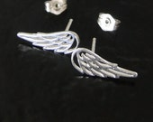Angel Wing Earring Studs - Celebrity Style For Less, Like Jennifer Lawrence - Sterling Silver, Your Guardian Angel