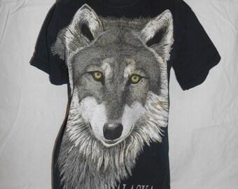 Vintage ALASKA men's women's  tee t shirt   90s wolf wolves