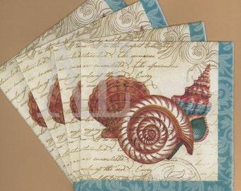 PN026 Set of 4 Paper Napkins by C. R. Gibson ~ 5 x 5 Fabulous Nautical Style Antique Nautilus Seashell Collage Summer Seashore Sea Creature