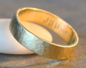 india ring - 14k yellow gold women's wedding band, recycled, eco-friendly, modern brushed satin finish