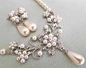 Bridal Jewelry Set, Wedding Jewelry Necklace Earrings, Pearl Bridal Necklace, Bridesmaid Set, Rhinestone Crystal Necklace Dangle Earrings