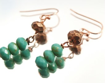 Faceted Turquoise and Copper Earrings  Everyday Simple Dangle Pierced Earrings