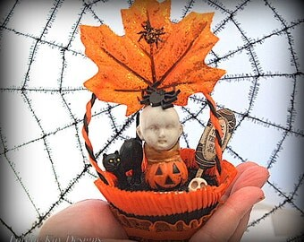 Folk Art Halloween Ornament Decoration Art Doll Hanging Art Doll Mixed Media  Doll Assemblage