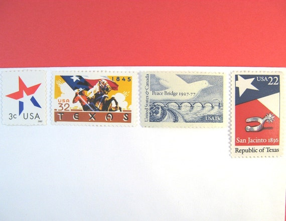 Vintage Unused Wedding Postage Stamps, Love Texas Cowboy, Red White Blue, Mail 20 Invies 2 oz 2014 rate, 70 cents