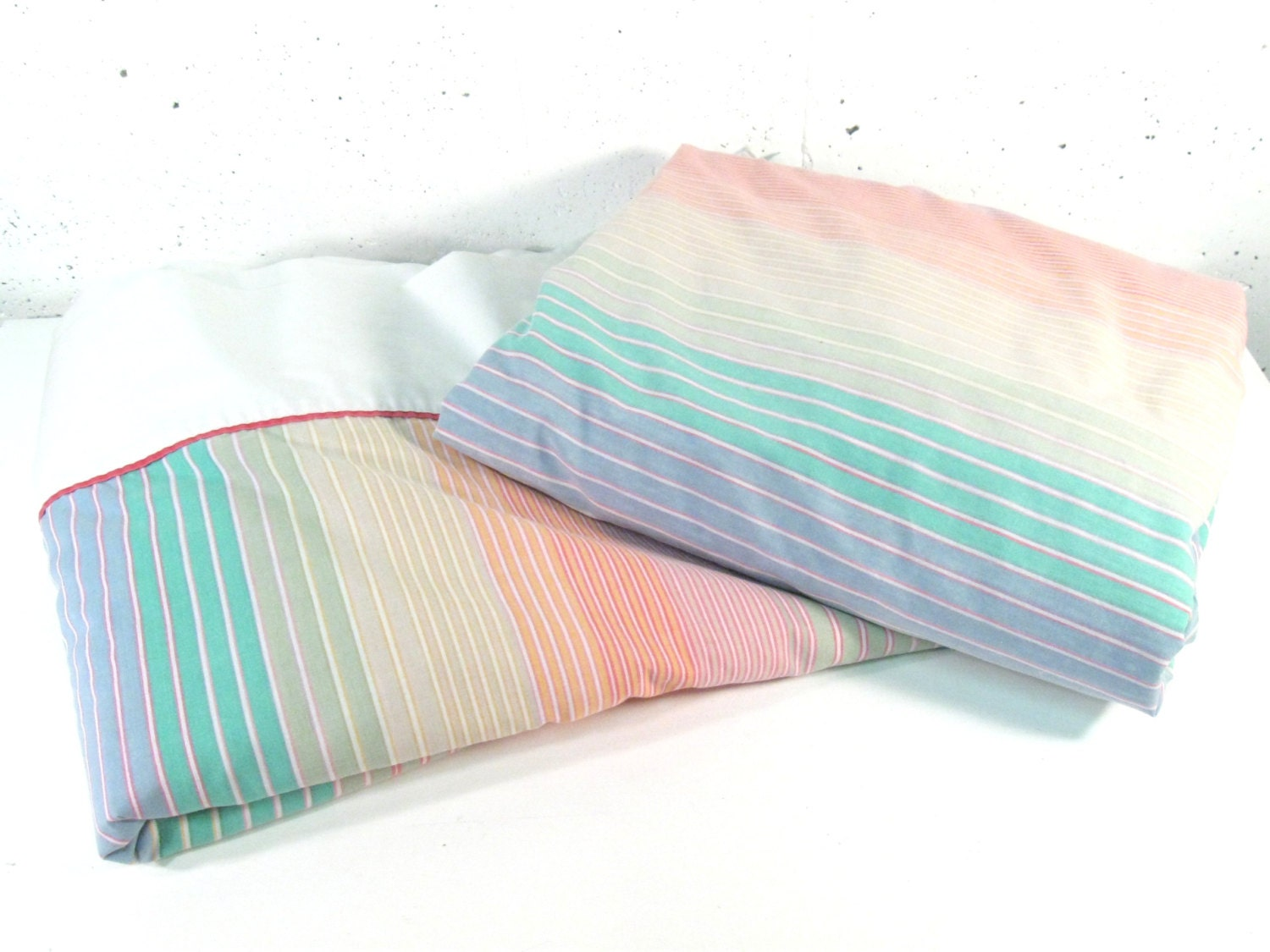 Vintage King Sheets Pastel Rainbow Striped 80s King Size