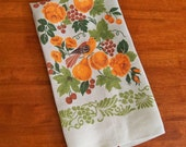 Vintage Linen Tea Towel - Stencil Birds Fruits and Flowers in Orange and Green