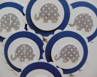 Elephant Cupcake Toppers - Navy Blue and White with Gray Polka Dot Elephants - Gender Neutral - Baby Shower Decorations-Birthday Decorations