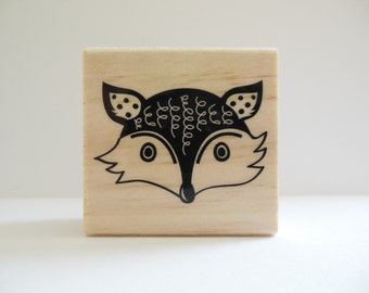 Fox Stamp - Hoot and Howl Collection - Wood Mounted Rubber Stamp - Woodland Animal