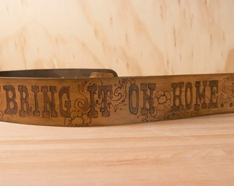 Leather Guitar Strap - Personalized in the New West Pattern in Antique Brown - Custom Guitar Strap for Acoustic or Electric Guitar