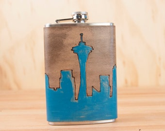 8oz Flask -Skyline Pattern - Leather in turquoise and antique black