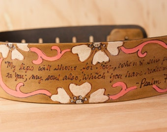 Leather Guitar Strap - Personalized Lynn Smokey With Pattern - Pink + Brown  - Custom Guitar Strap for Acoustic or Electric Guitars