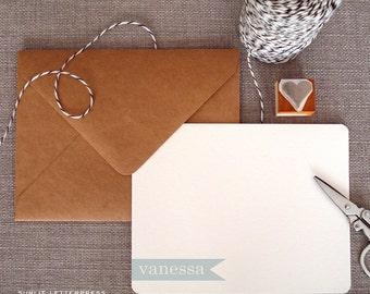 Custom Letterpress Note Cards - Set of 50 w/Kraft Envelopes - Banner Name Design