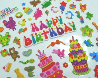 Cute Puffy Japanese Foam Glitter Stickers  - Animal Fun - Birthday Party (1259L)