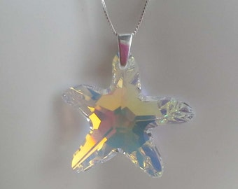 Handmade using Swarovski Large Starfish Crystal AB Pendant and Sterling Silver Chain