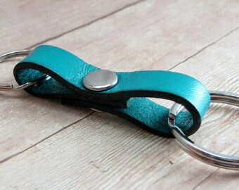Turquoise Leather Key Ring, Double Keyring, Aqua Leather Key Chain, Blue Keychain, Purse Accessory, Leather Key Holder