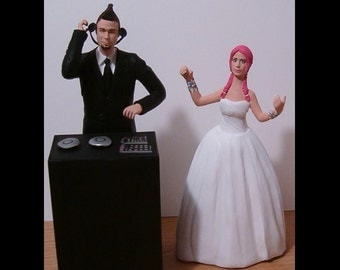 Custom DJ and Dancer Wedding Cake Toppers Figure set - Personalized to Look Like Bride Groom from your Photos