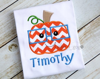 Pumpkin Boy with Glasses Tee Shirt by babe-a-gogo for Toddlers, Girls