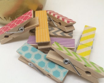 Chunky Washi Covered Clothespins - set of 8 Rainbow