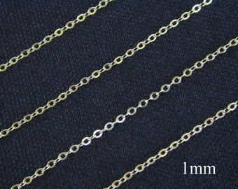New 50 ft  - 14k Gold Filled Flat Cable Chain  1mm