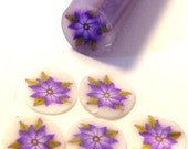 Purple daisy with leaves, fimo nail art cane, 2-inch (5cm) long polymer clay cane, DIY, Miniatures, Scrapbooking, Made in USA