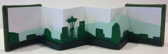 Small Green Seattle Skyline Book
