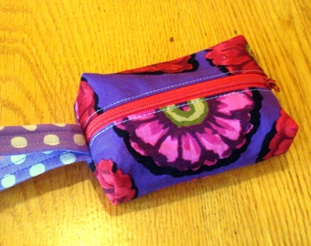 Wristlet in Red and Purple Flowers