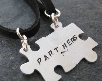 Partners Puzzle Piece Necklaces, Set of 2 Connecting, lgbt, domenstic partnership, lesbian, gay marriage, civil union