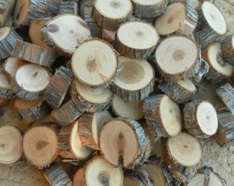 """50 1/2"""" tree slices- Juniper wooden craft discs/tree cookies/wood blanks- unsanded Rustic wedding vase filler, table confetti, centerpiece"""