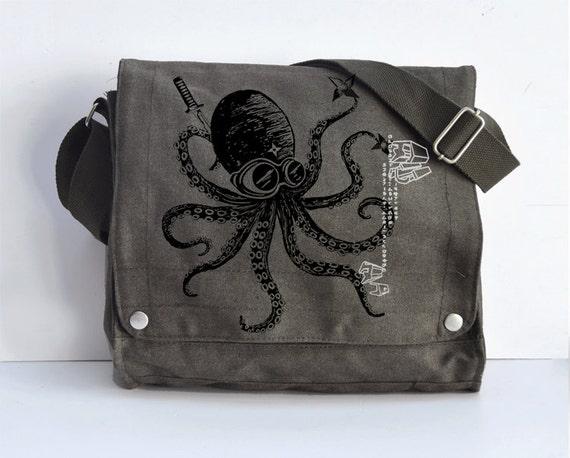 Ninja Octopus messenger bag KHAKI GREEN