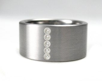 Diamond Stainless Steel & Silver Wedding Band Ring Comfort Fit